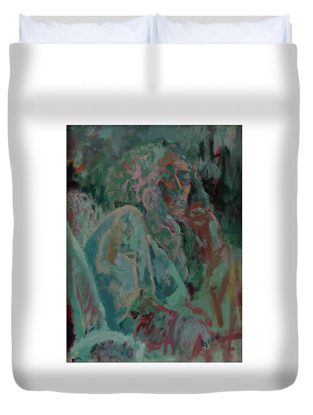 Portrait Duvet Cover featuring the painting Pink And Green Portrait by Lynne Guess