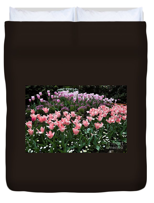 Flower Duvet Cover featuring the photograph Pink And Mauve Tulips by Louise Heusinkveld