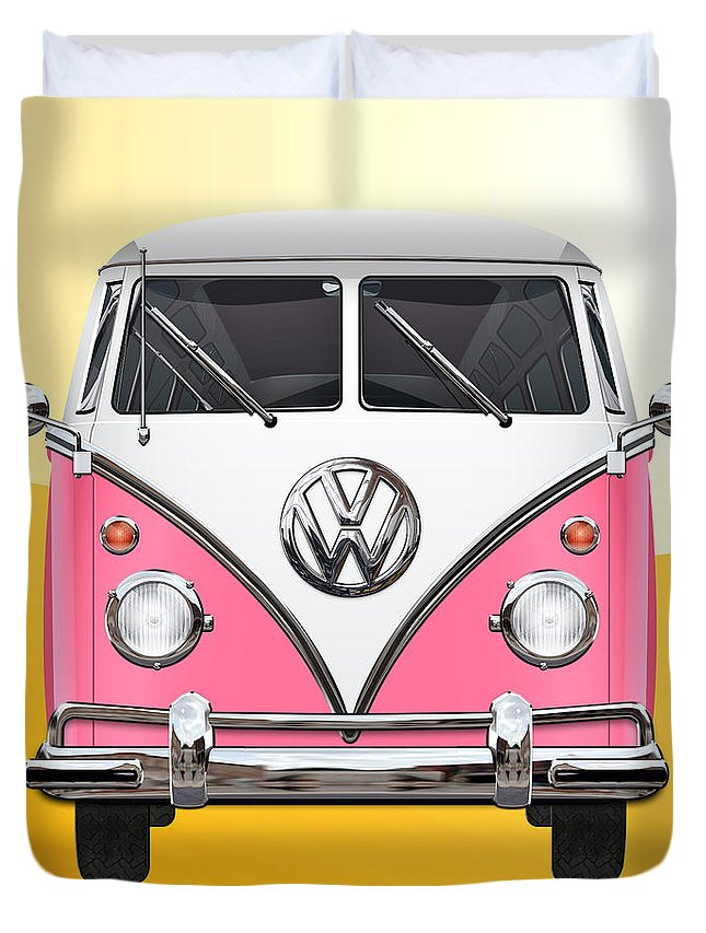 'volkswagen Type 2' Collection By Serge Averbukh Duvet Cover featuring the photograph Pink And White Volkswagen T 1 Samba Bus On Yellow by Serge Averbukh