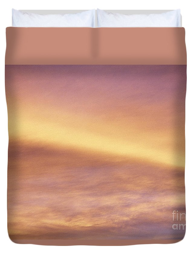 Air Duvet Cover featuring the photograph Pink And Yellow Sky by Carl Shaneff - Printscapes