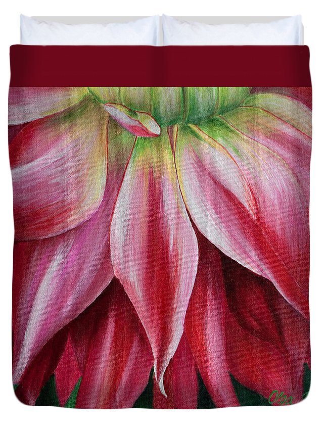 Pink Dahlia Duvet Cover featuring the painting Pink Beauty by Olga Smith