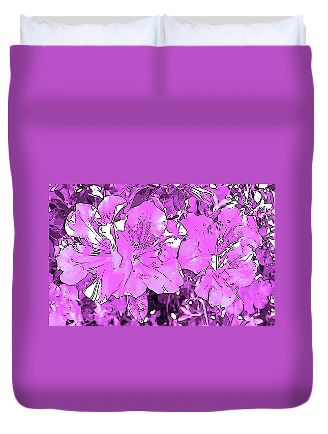 Photography Duvet Cover featuring the digital art Pink Bevy Of Beauties On A Sunny Day In Violet by Marian Bell