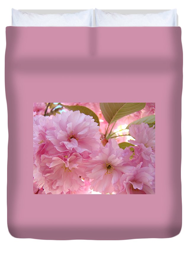 Blossom Duvet Cover featuring the photograph Pink Blossoms Art Prints Spring Tree Blossoms Baslee Troutman by Baslee Troutman