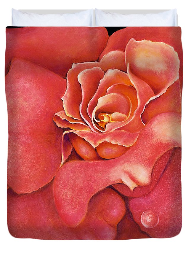 Rose.bloom Duvet Cover featuring the painting Pink Blush by Jordana Sands