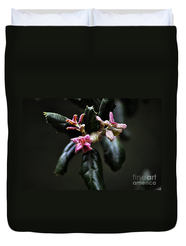 Clay Duvet Cover featuring the photograph Pink Bud by Clayton Bruster