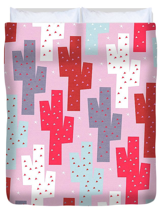 Pink Duvet Cover featuring the digital art Pink Cactus Pattern by Yetiland
