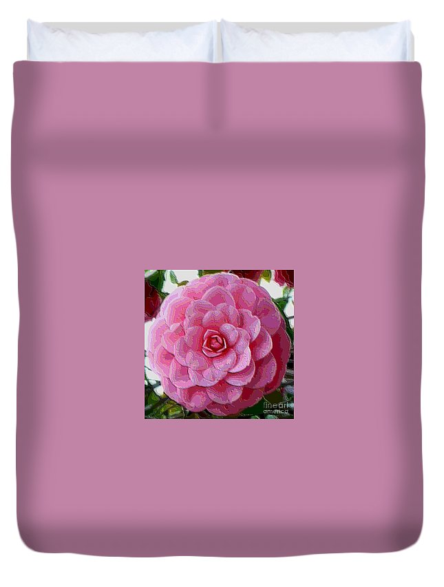 Pink Flower Duvet Cover featuring the photograph Pink Camellia Dream by Carol Groenen