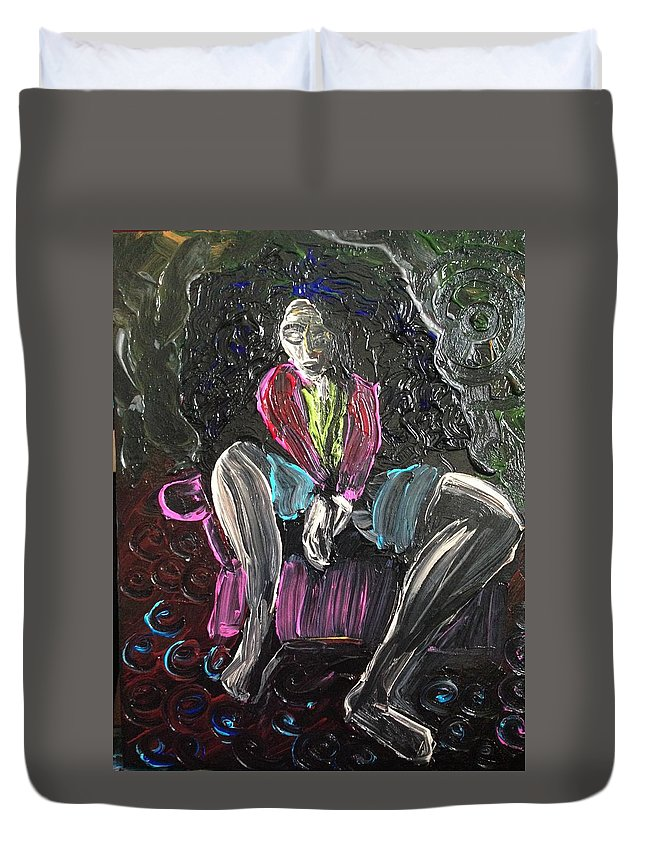 Chair Duvet Cover featuring the painting Pink Chair by Susan Gauthier