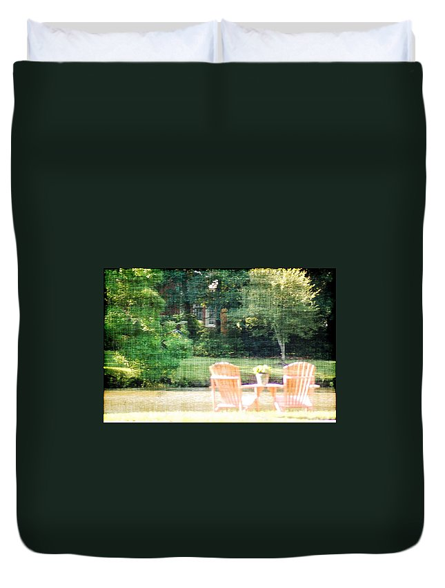 Chairs Duvet Cover featuring the photograph Pink Chairs by Donna Bentley