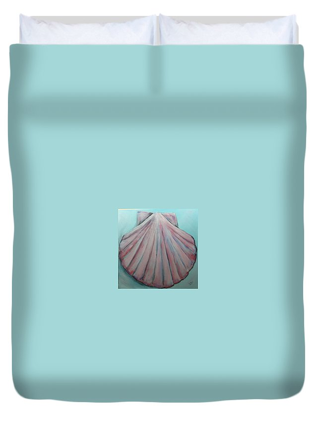 Clam Shell Duvet Cover featuring the painting Pink Clam Shell by Douglas Harn