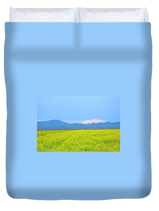 Mustard Duvet Cover featuring the photograph Pink Cloud Over The Mustard Fields by Tom Reynen
