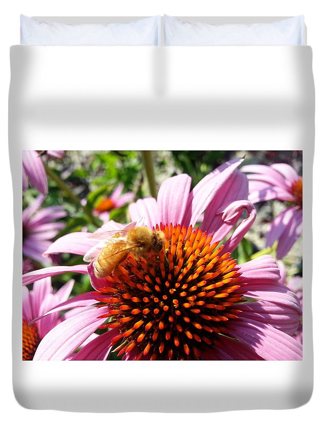 Flower Duvet Cover featuring the photograph Pink Coneflower by Laura Costa