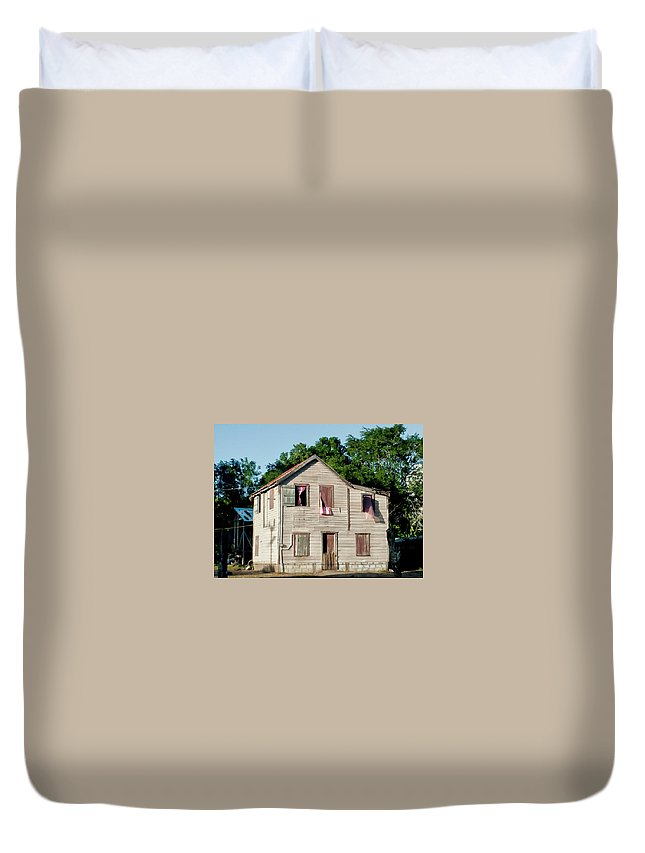Large House Duvet Cover featuring the photograph Pink Curtains by Jessica Levant