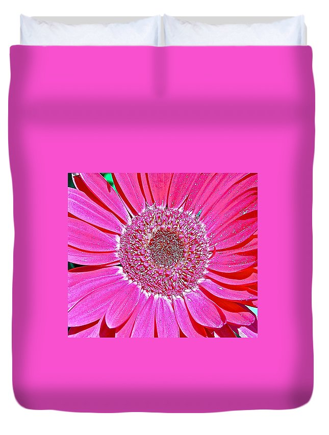 Pink Duvet Cover featuring the photograph Pink Daisy by Danielle Sigmon