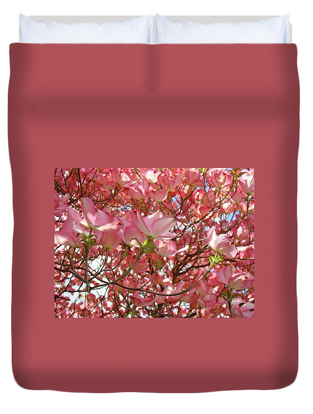 Dogwood Duvet Cover featuring the photograph Pink Dogwood Flowering Tree Art Prints Canvas Baslee Troutman by Baslee Troutman
