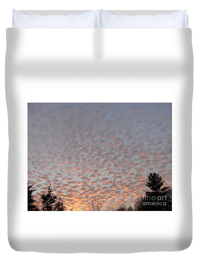 Sky Duvet Cover featuring the photograph Pink Dotted Sky by Alice Heart