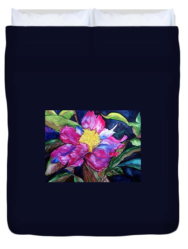 Pink Flower Duvet Cover featuring the painting Pink Drama by Lil Taylor