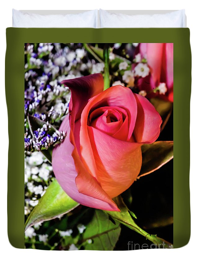 Rose Duvet Cover featuring the photograph Pink Eye Rose by Gerald Kloss