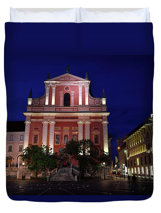 Pink Facade Duvet Cover featuring the photograph Pink Facade Of Franciscan Church Of The Annunciation Next To Urb by Reimar Gaertner