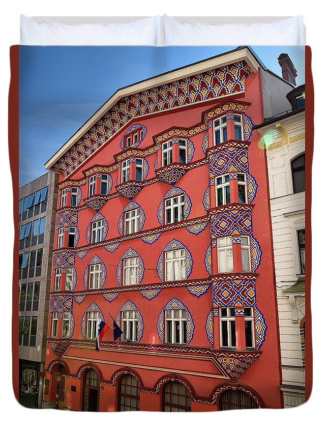 Cooperative Business Bank Duvet Cover featuring the photograph Pink Facade Of The Cooperative Business Bank Building Called Vur by Reimar Gaertner