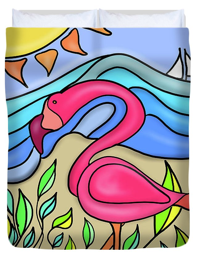 Pink Flamingo Duvet Cover featuring the digital art Pink Flamingo Glassy by Tab O'Neal