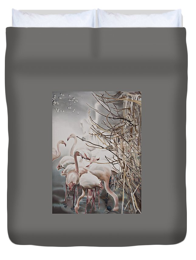 Batik Duvet Cover featuring the painting Pink Flamingo by Lana Haivor