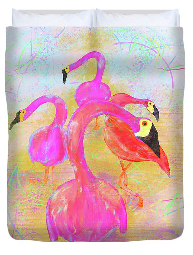 Pink Flamingo Duvet Cover featuring the digital art Pink Flamingos In The Park by Tab O'Neal