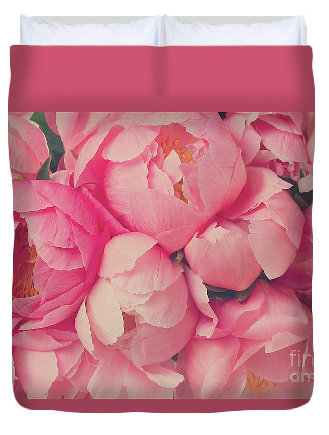 Peony Duvet Cover featuring the photograph Everything Is Pink by Anastasy Yarmolovich