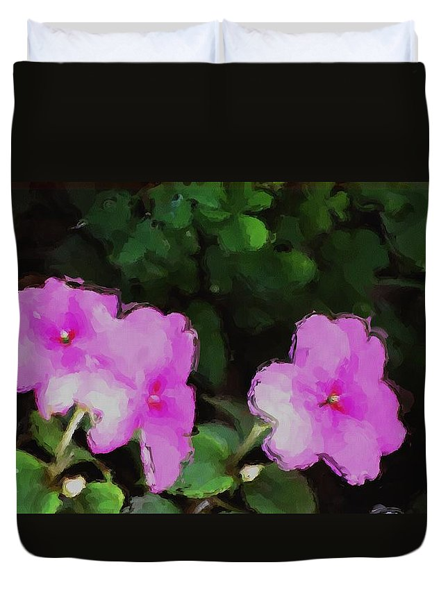 Digital Photograph Duvet Cover featuring the photograph Pink Floral Watercolor by David Lane