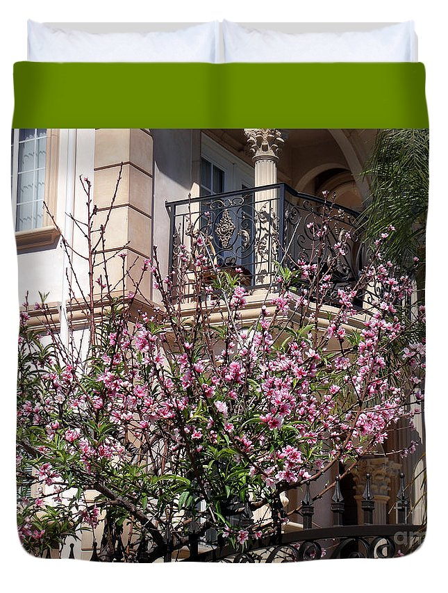 Pink Flowers Duvet Cover featuring the photograph Pink Flower Tree. Elegant by Sofia Metal Queen
