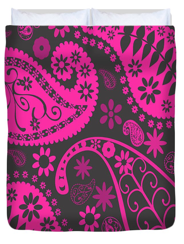 Pink Duvet Cover featuring the drawing Pink Flowers by Abeerhassan