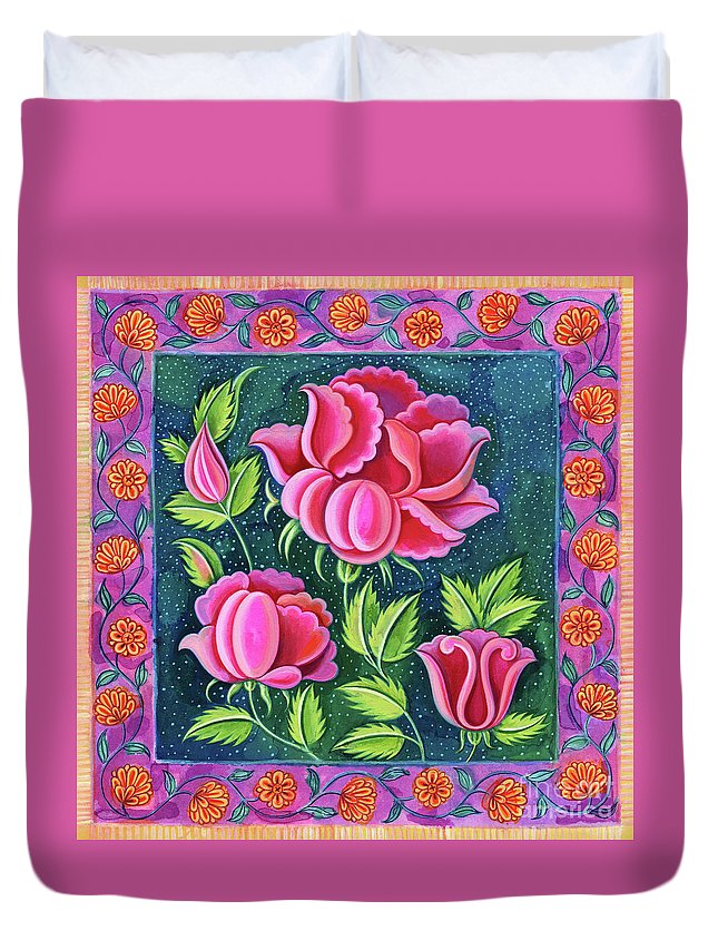 Roses Duvet Cover featuring the painting Pink Flowers by Jane Tattersfield