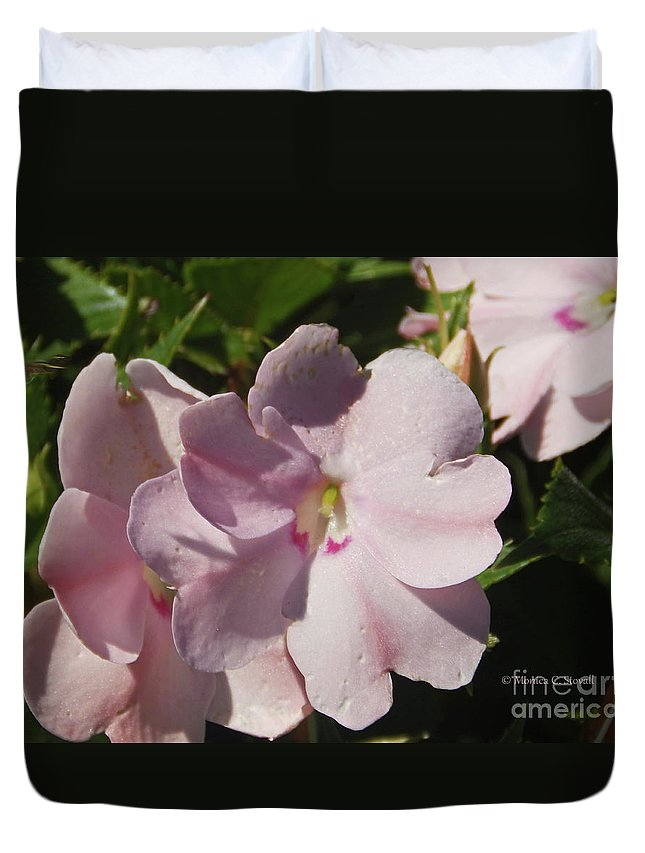 Pink Flowers Duvet Cover featuring the photograph Pink Flowers P79 by Monica C Stovall