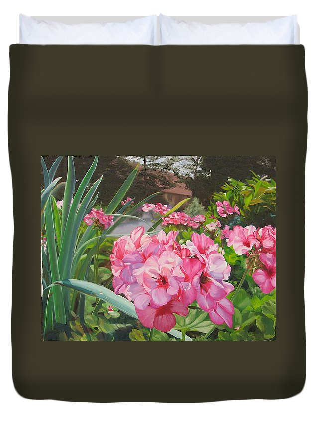 Pink Geraniums Duvet Cover featuring the painting Pink Geraniums by Lea Novak