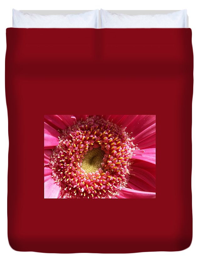 Pink Duvet Cover featuring the photograph Pink Gerbera Daisy by Amy Fose