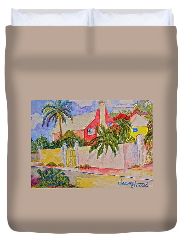 Island House Duvet Cover featuring the painting Pink House by Donna Steward