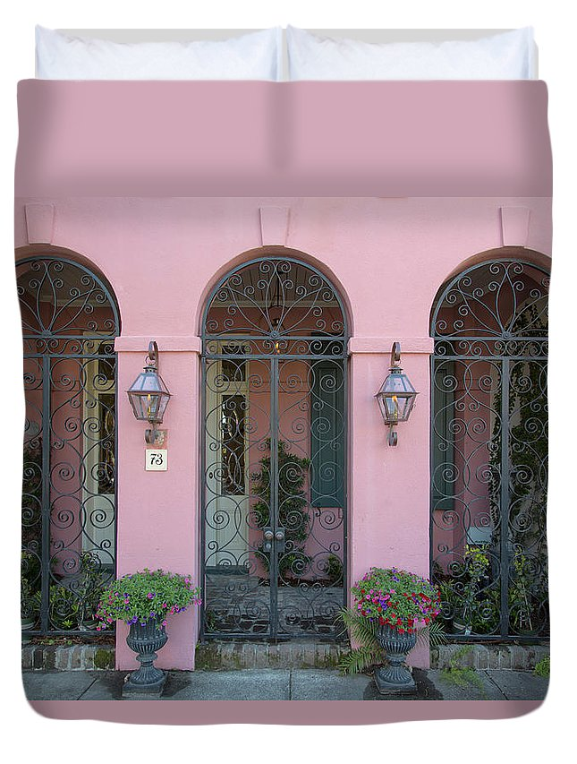 Charleston Duvet Cover featuring the photograph Pink House by Nancy Dunivin