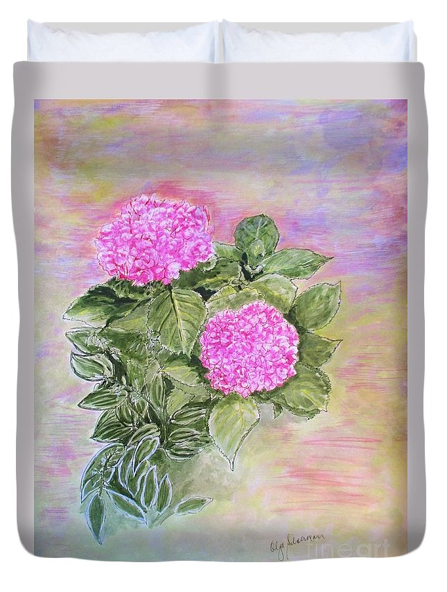 Hydrangeas Duvet Cover featuring the painting Pink Hydrangeas And Hostas by Olga Silverman