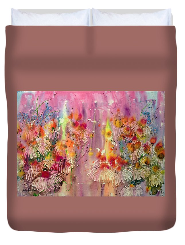 Pink Ladies Duvet Cover featuring the painting Pink Ladies by Shirley Sykes Bracken