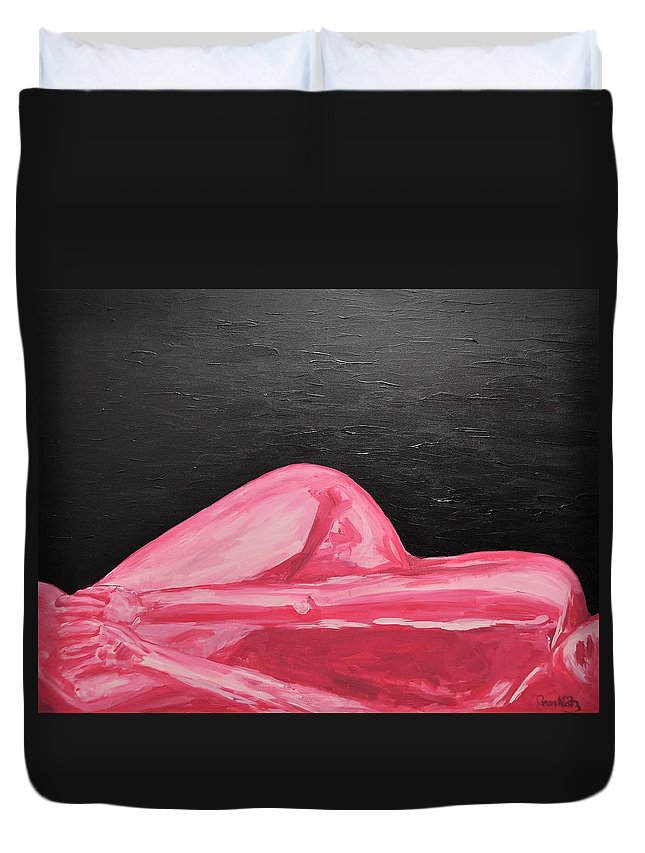 Bodies Duvet Cover featuring the painting Pink Lady by Jennifer Klotz