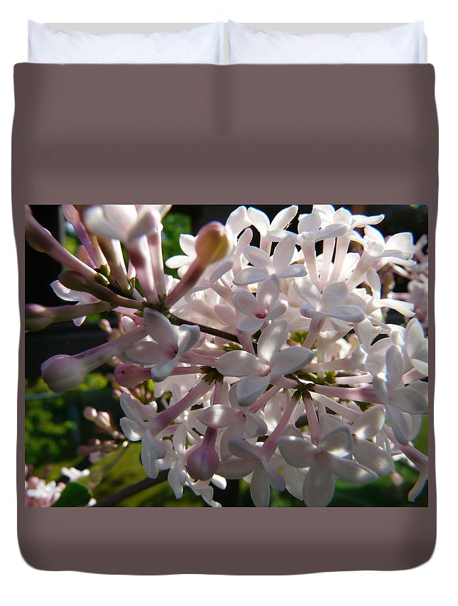 Flower Duvet Cover featuring the photograph Pink Lilac Blossom by Valerie Ornstein