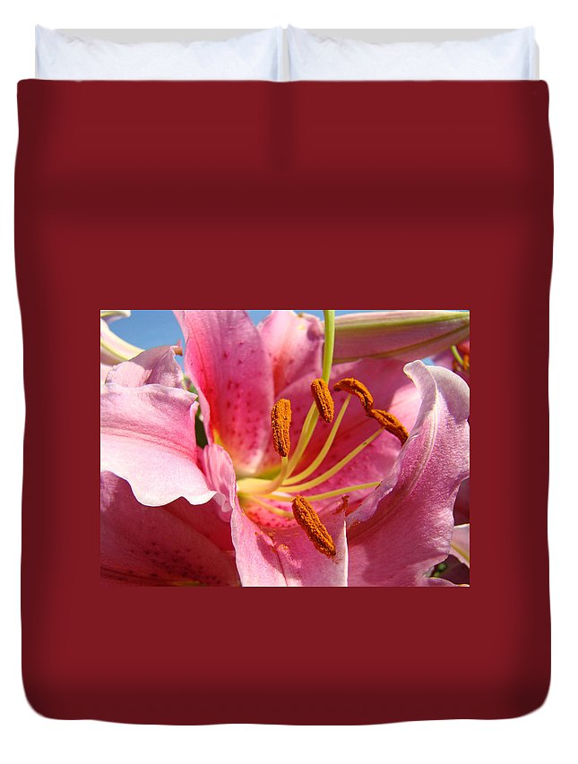 Lilies Duvet Cover featuring the photograph Pink Lilies Art Prints Lily Flowers 3 Giclee Artwork Baslee Troutman by Baslee Troutman