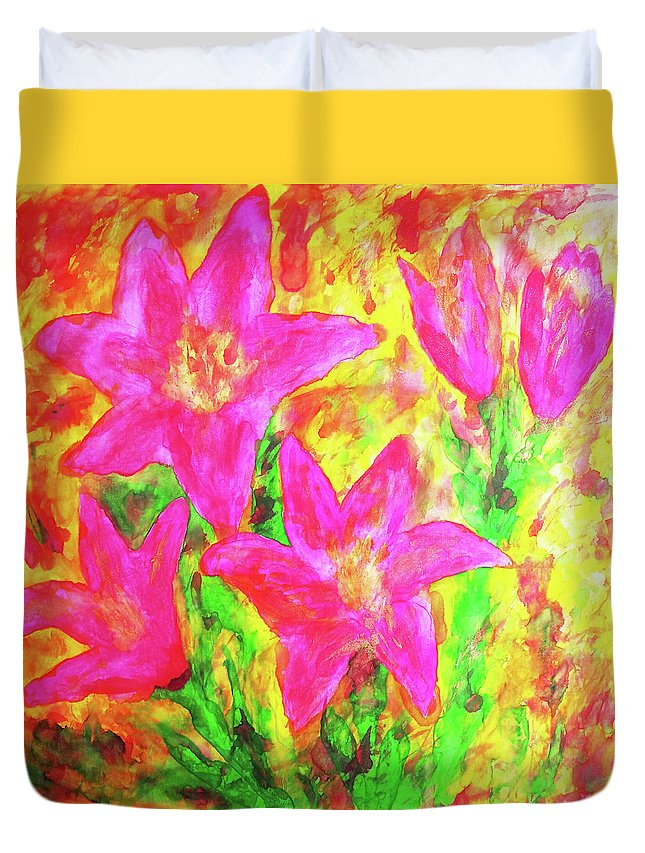 Lilies. Lily Duvet Cover featuring the painting Pink Lilies by Maja Smid