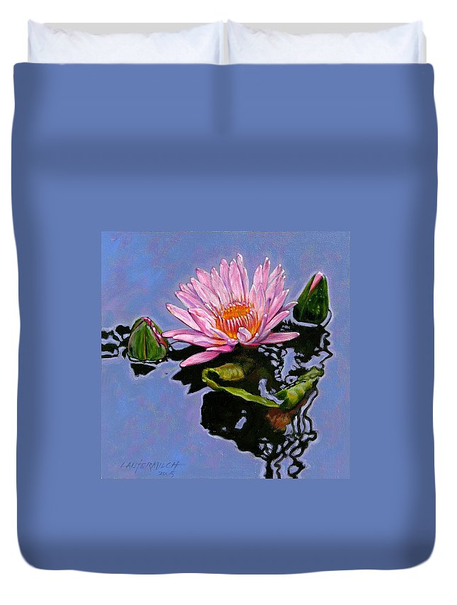 Water Lily Duvet Cover featuring the painting Pink Lily With Dancing Reflections by John Lautermilch