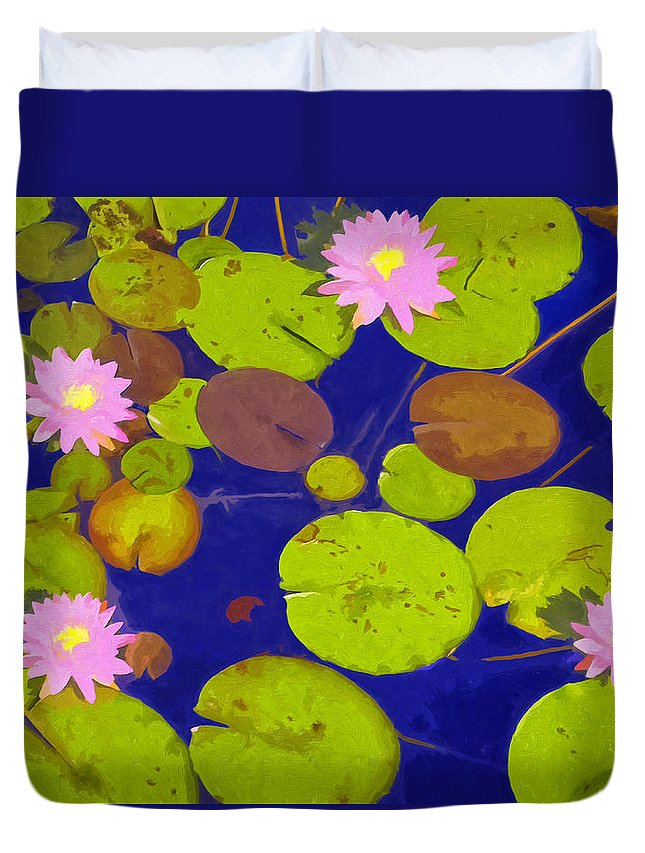 Waterlily Duvet Cover featuring the painting Pink Lotus Blossoms by Dominic Piperata