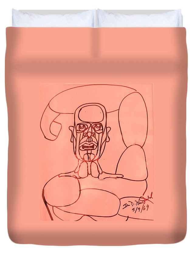 Man Duvet Cover featuring the drawing Pink Man by Ian MacDonald