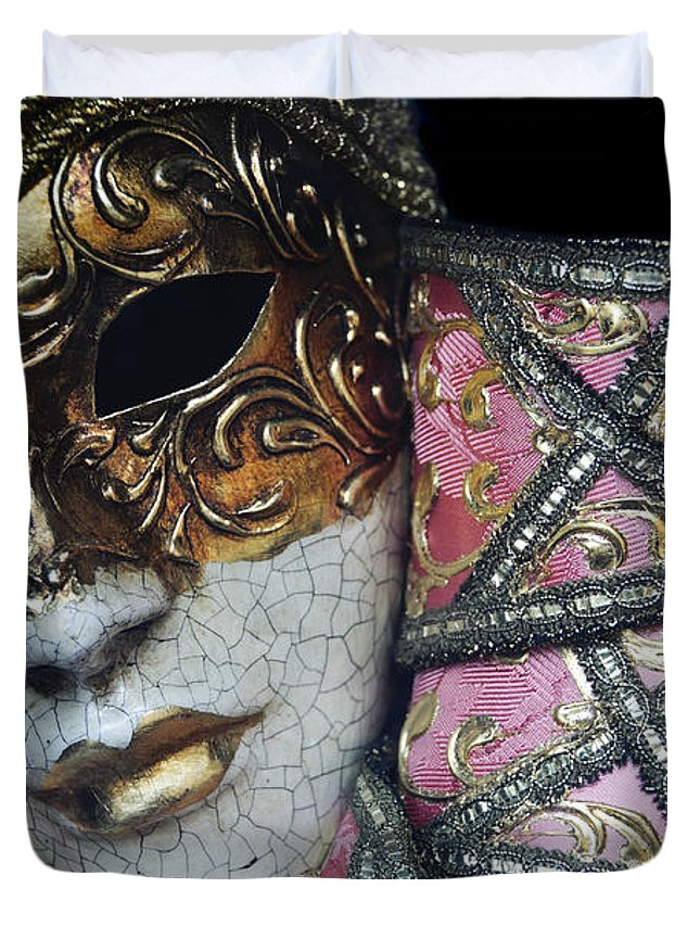 Black Duvet Cover featuring the photograph Pink Mask by Oscar Gutierrez