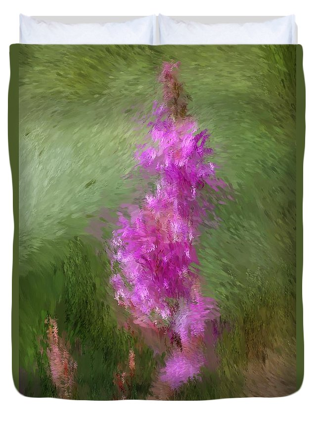 Abstract Duvet Cover featuring the digital art Pink Nature Abstract by David Lane