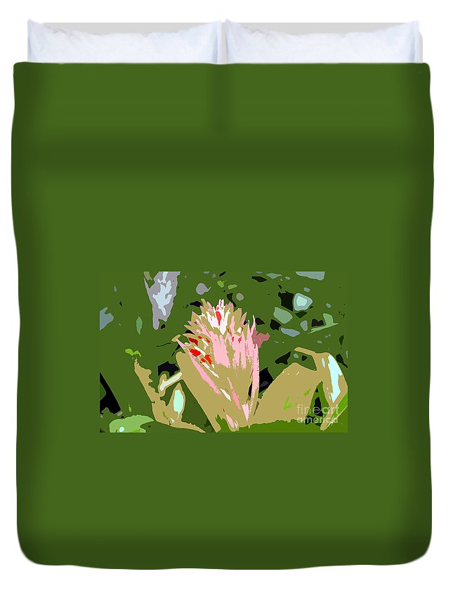 Flower Duvet Cover featuring the photograph Pink On Green Work Number 6 by David Lee Thompson