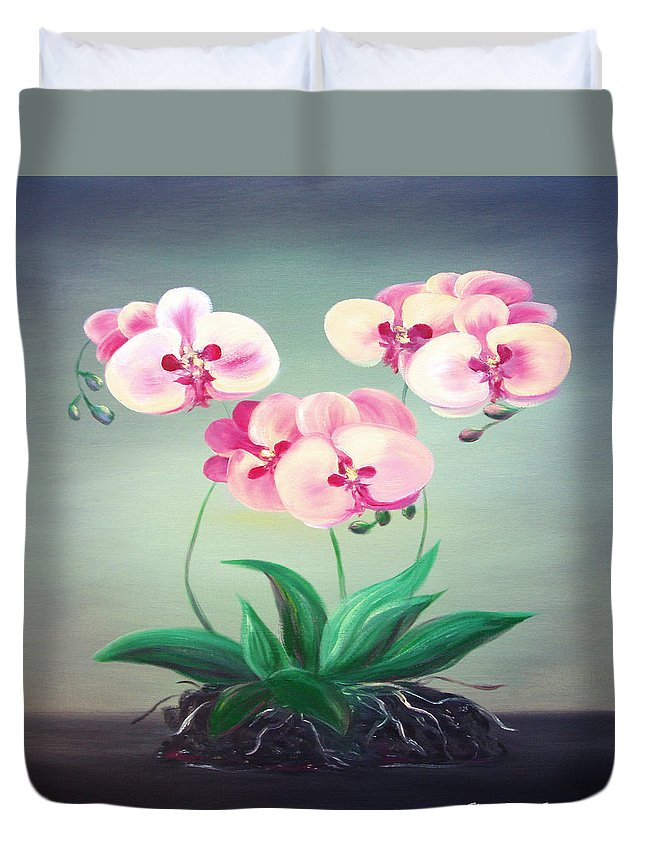 Original Duvet Cover featuring the painting Pink Orchids 2 by Gina De Gorna
